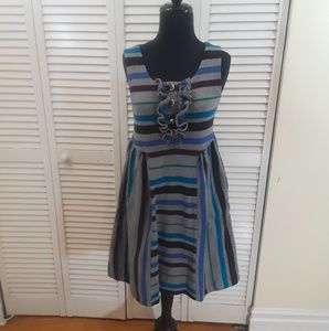 Marc by Marc Jacobs Gray Striped Cotton Sundress